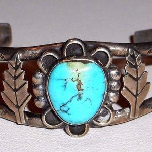 Jewelry - Vintage Navajo Sterling Silver Turquoise Bracelet
